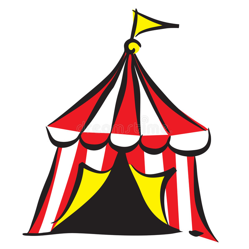 Circus tent. Illustration of circus tent isolated over white background