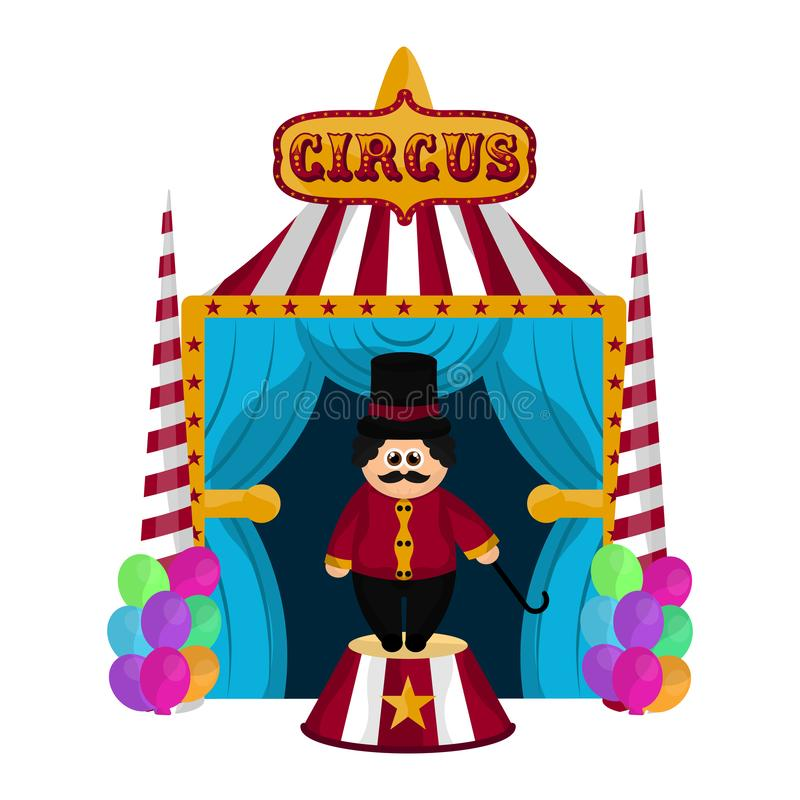 Circus tent with an animal tamer. Circus striped tent with an animal tamer - Vector royalty free illustration