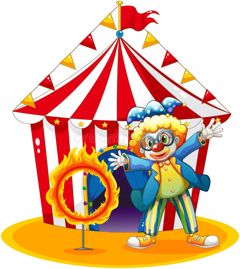 Download A Circus Tent At The Back Of The Clown With A Ring Of Fire Stock Vector - Image: 32732469