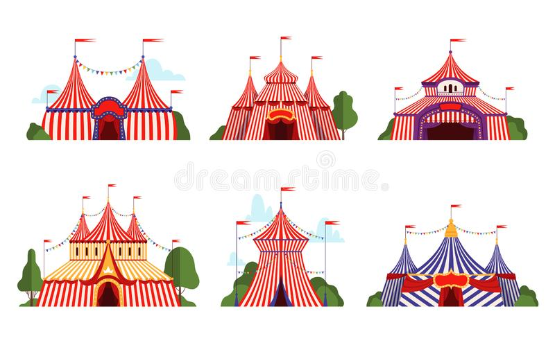 Circus tent. Carnival circus canopy stripe tent different styles happy party symbols vector cartoon collection royalty free illustration