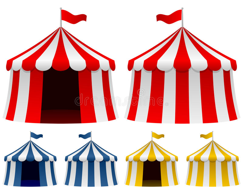 Circus Tent Collection. In three different colors, isolated on white background. Eps file available vector illustration
