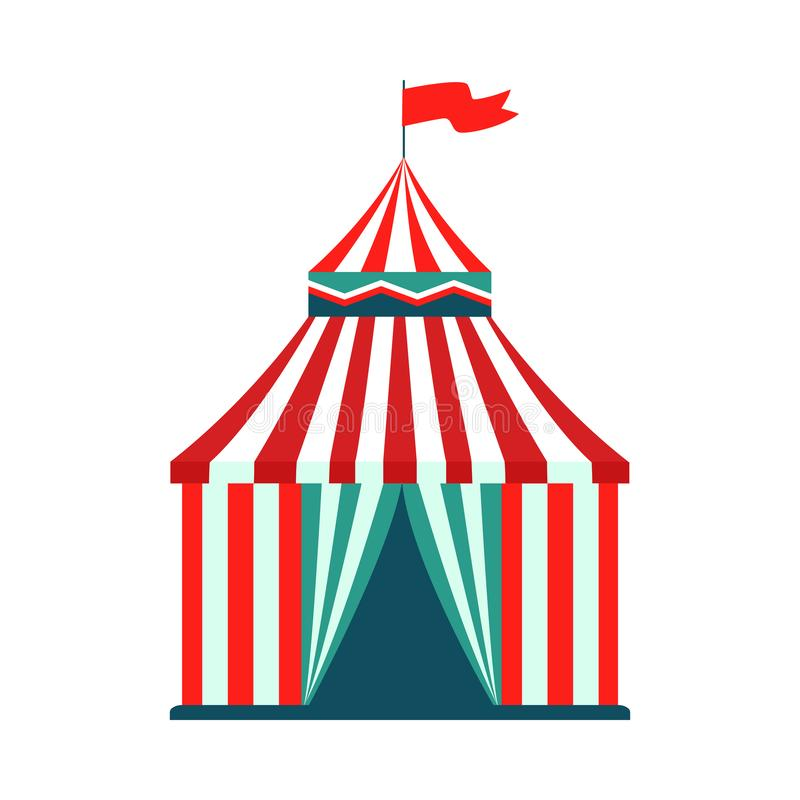 Circus tent - flat isolated amusement park carnival attraction stock illustration