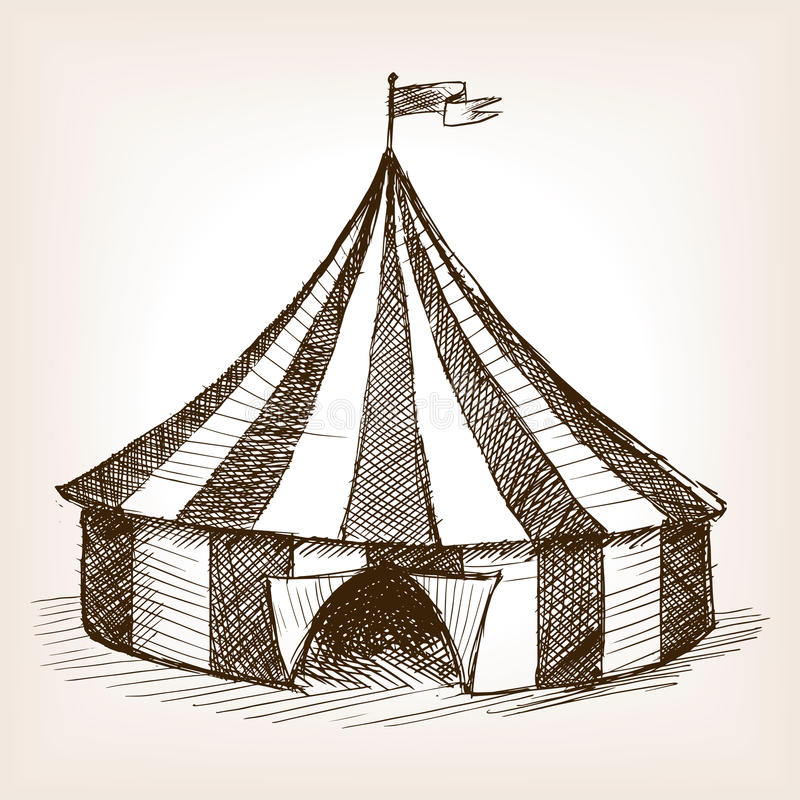Circus Tent Hand Drawn Sketch Vector Stock Illustration ...