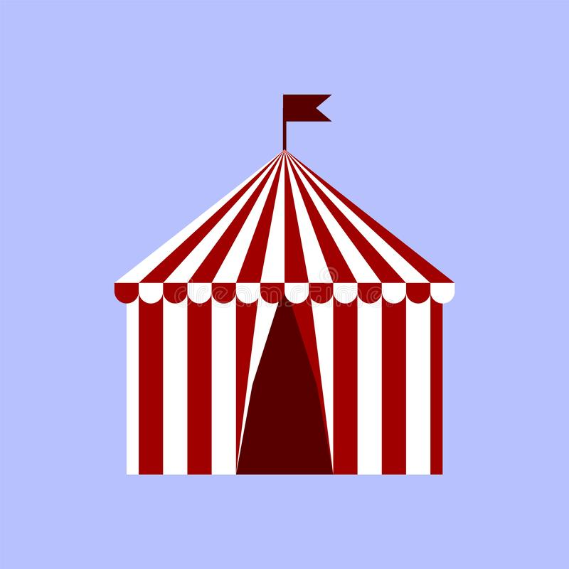Circus tent icon in flat style isolated on blue background. Circus symbol vector illustration. royalty free illustration