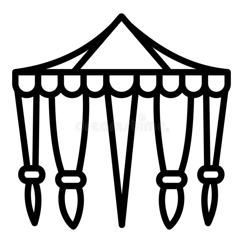 Circus tent icon, outline style stock illustration