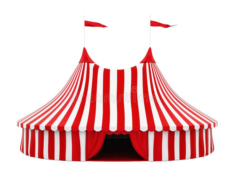 Circus Tent Isolated. On white background. 3D render royalty free illustration