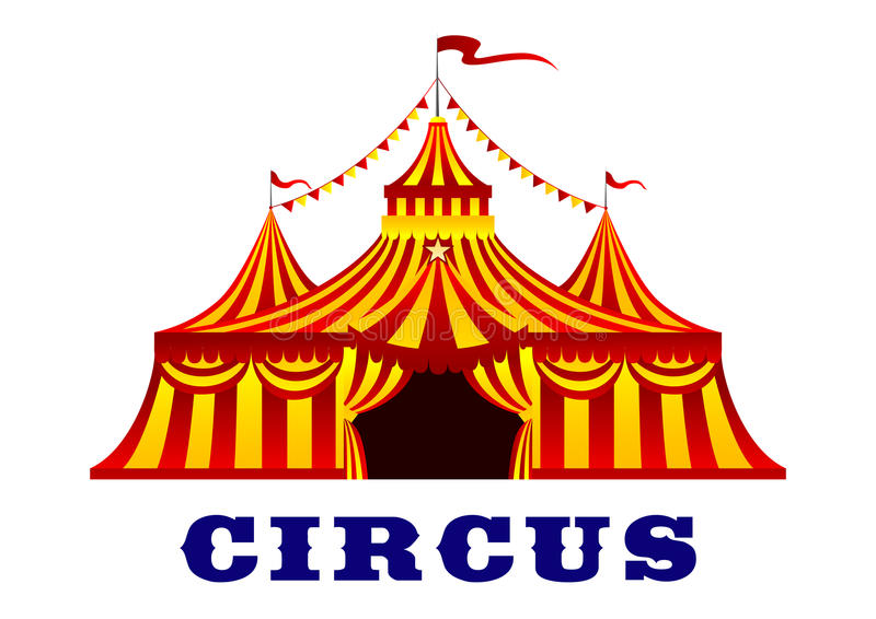 Circus tent with red and yellow stripes. Circus red and yellow striped tent in retro style, with flags on the tops of the domes, isolated on white background for stock illustration