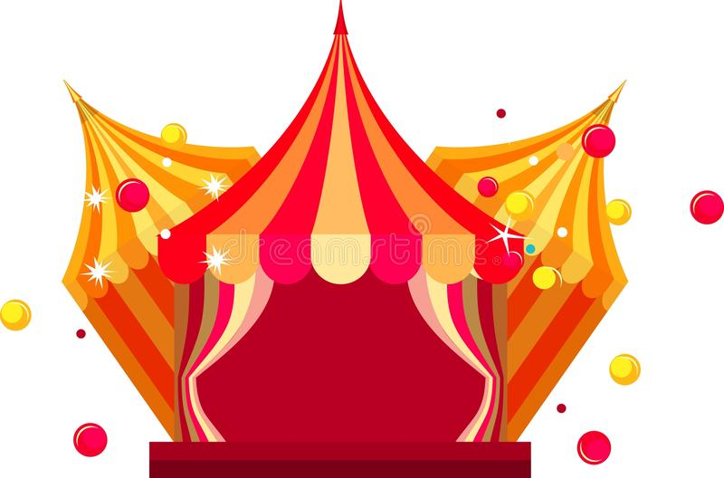 Circus tent show. Vector illustration festive circus tents with open curtains to enter on a white background royalty free illustration
