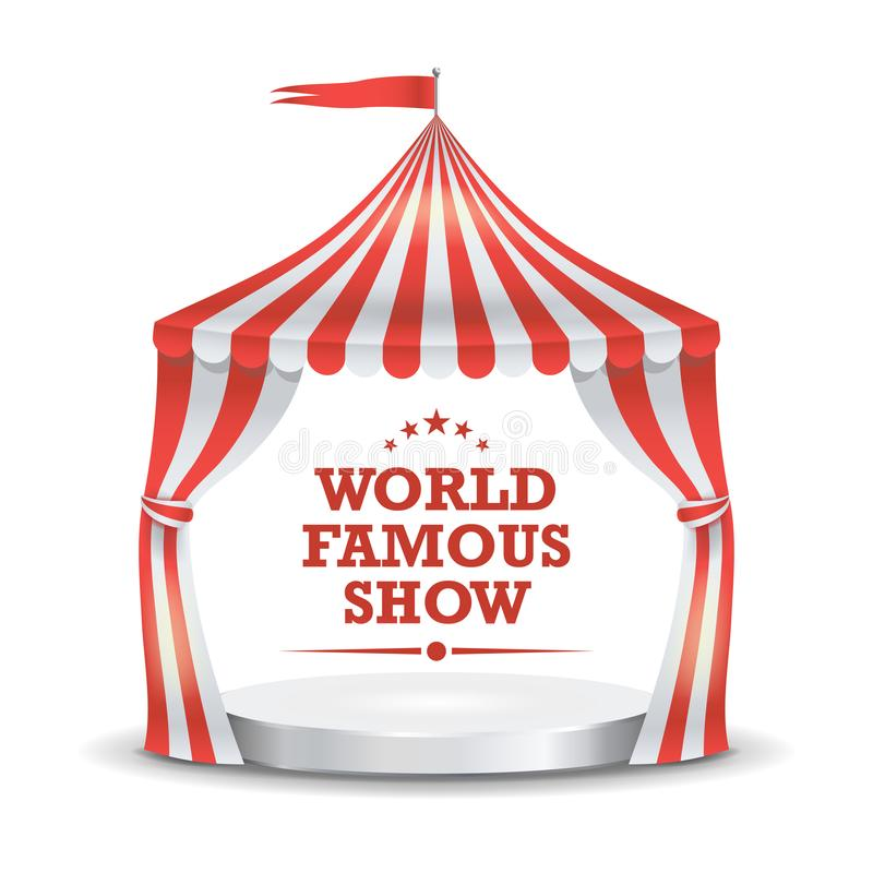 Circus Tent Vector. Red And White Stripes. Cartoon Circus Classic Marquee Tent. Isolated Illustration royalty free illustration