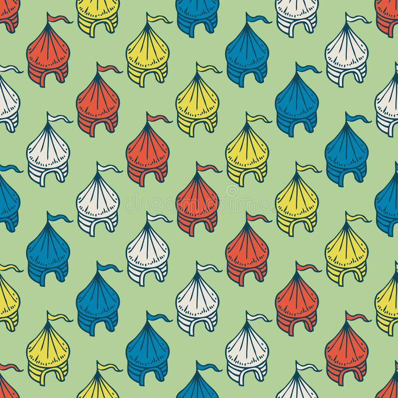 Circus Tents Seamless Pattern. On a Green Background royalty free illustration
