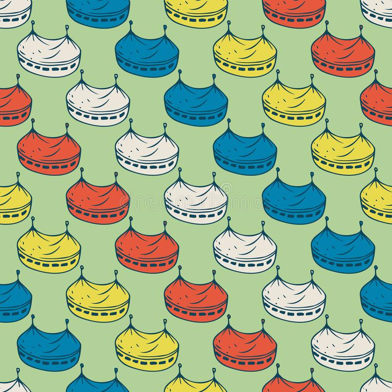 Circus Tents Seamless Pattern. On a Green Background stock illustration
