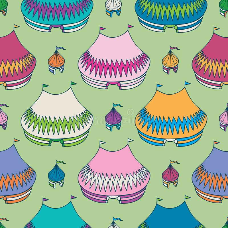 Circus Tents Seamless Pattern. On an Green Background stock illustration