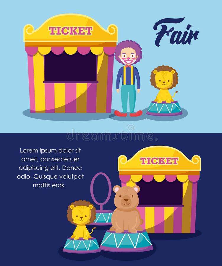 Circus tents ticket sale with clown and cute animals. Vector illustration design royalty free illustration