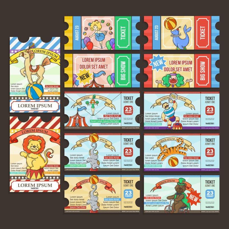 Circus Ticket pass. Doodle cartoon. stock illustration