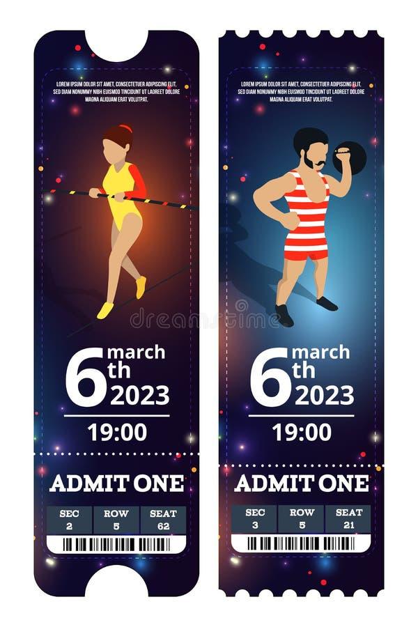 Circus tickets design. Vector illustrations in cartoon style stock illustration