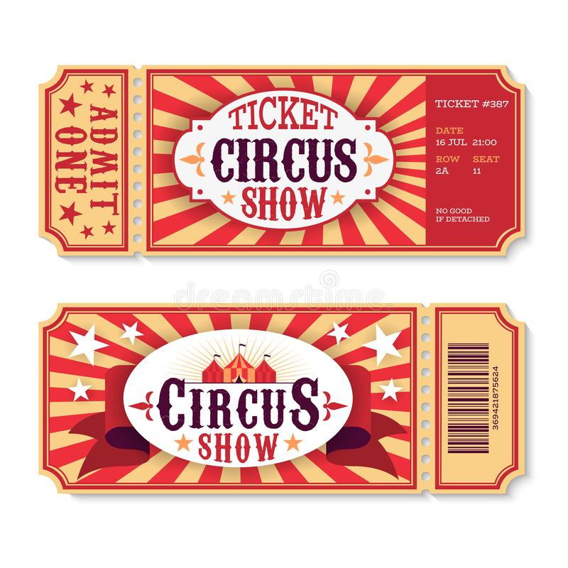 Circus tickets. Magic show entrance vintage paper ticket, festival entertaining event coupons. Birthday party card stock illustration