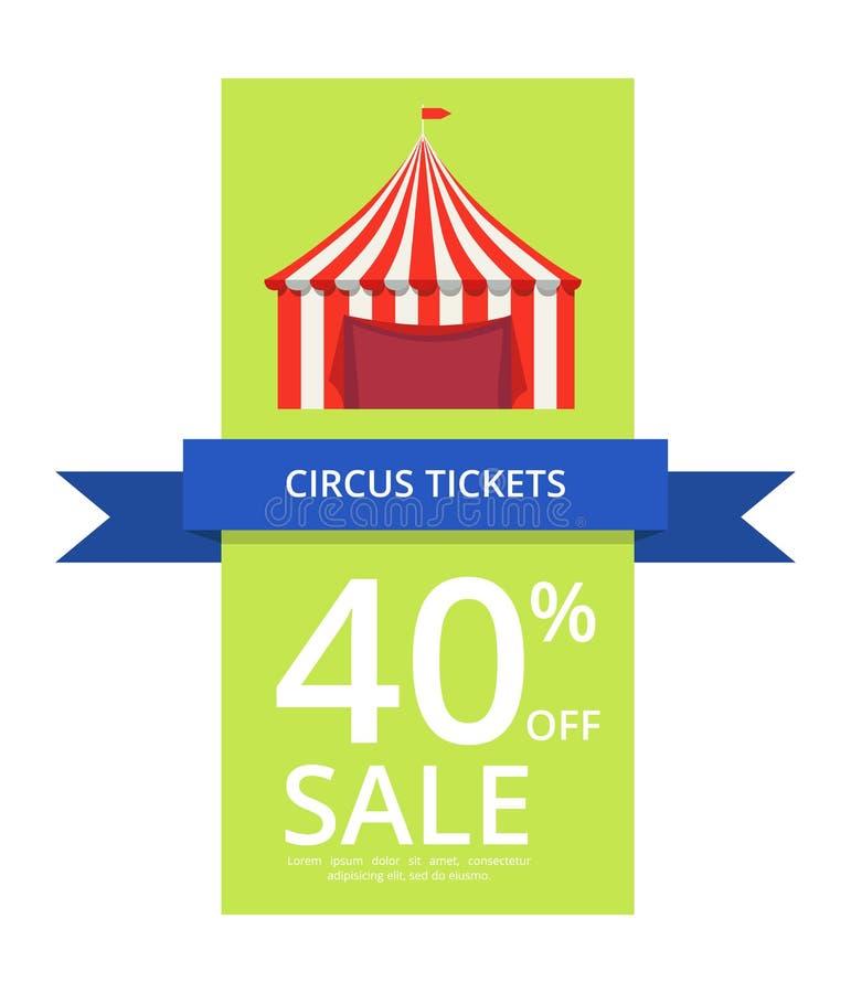 Circus Tickets 40 Off Sale Vector Illustration vector illustration