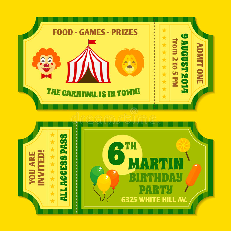 Circus tickets template stock vector. Illustration of payment - 41976814