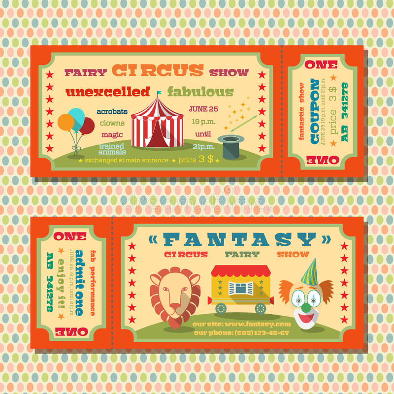 Circus tickets template stock vector. Illustration of event - 41037980