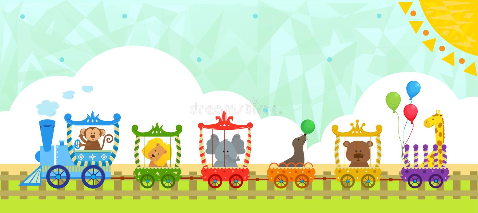Circus Train With Background Stock Vector - Illustration ...