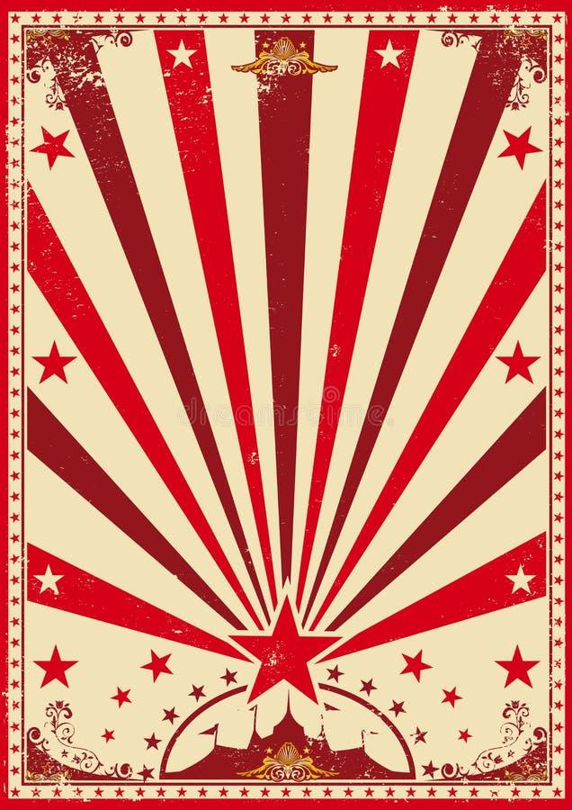 Circus uitstekende rode affiche royalty-vrije illustratie