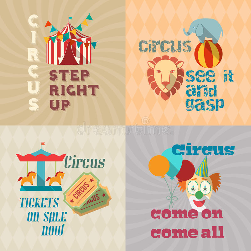 Circus vintage flat pictograms composition vector illustration