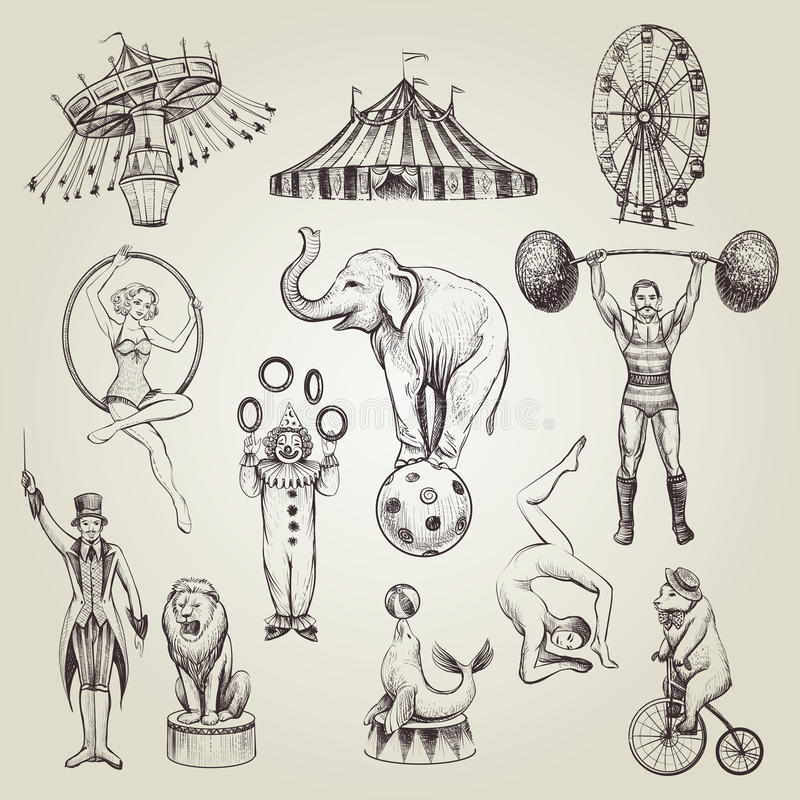 Free Circus Vintage Hand Drawn Vector Illustrations Set. Royalty Free Stock Photography - 90718367