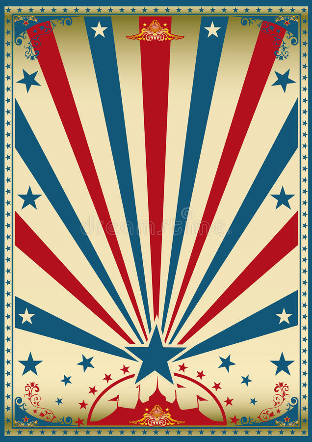 Circus vintage red blue poster stock photo