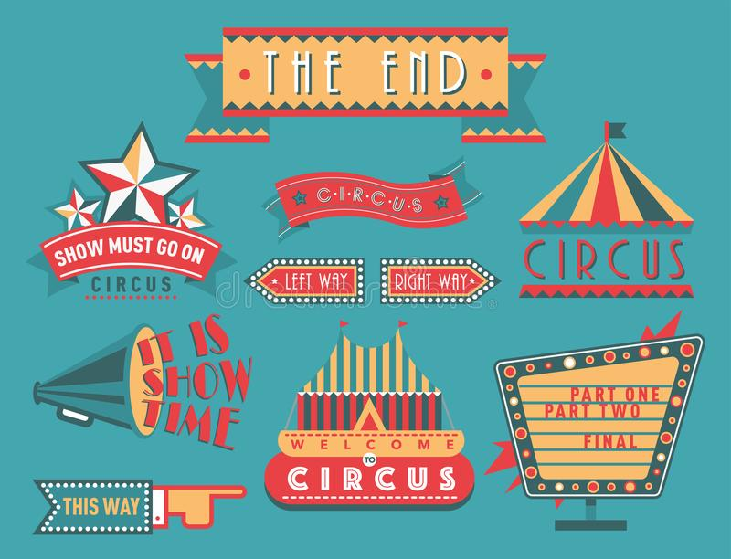 Circus vintage signboard labels banner vector illustration entertaining ticket sign. Collection of symbols modern emblems and logos fun tag graphic circus stock illustration