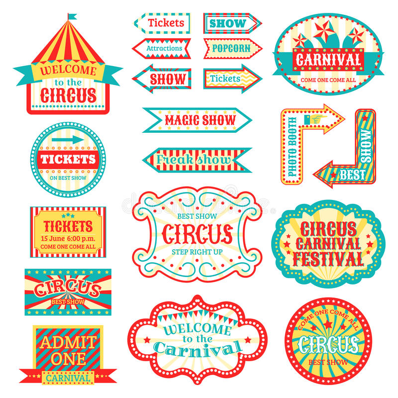 Circus vintage signboard labels banner vector illustration on white entertaining banner sign. Collection of symbols modern emblems and logos fun tag graphic stock illustration