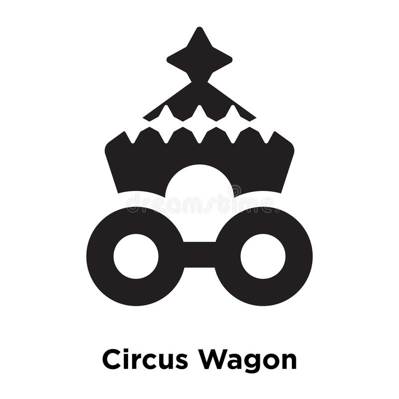 Circus Wagon icon vector isolated on white background, logo concept of Circus Wagon sign on transparent background, black filled royalty free illustration
