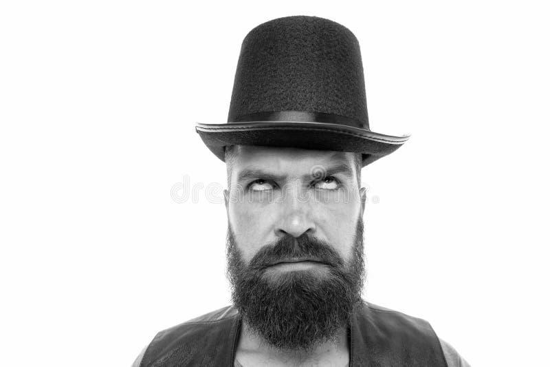 Circusarbeider Laat prestaties beginnen Cilinder van mensen de gebaarde hipster Bizarre dingen die op zijn prestaties gaan Wil wa stock fotografie