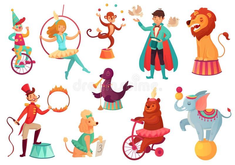Circusdieren Dierlijke acrobatische trucs, de acrobaatvermaak van de circusfamilie Beeldverhaalvector geïsoleerde illustratie royalty-vrije illustratie