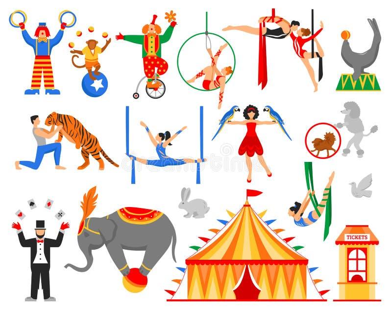 Circuskunstenaar Characters Collection stock illustratie