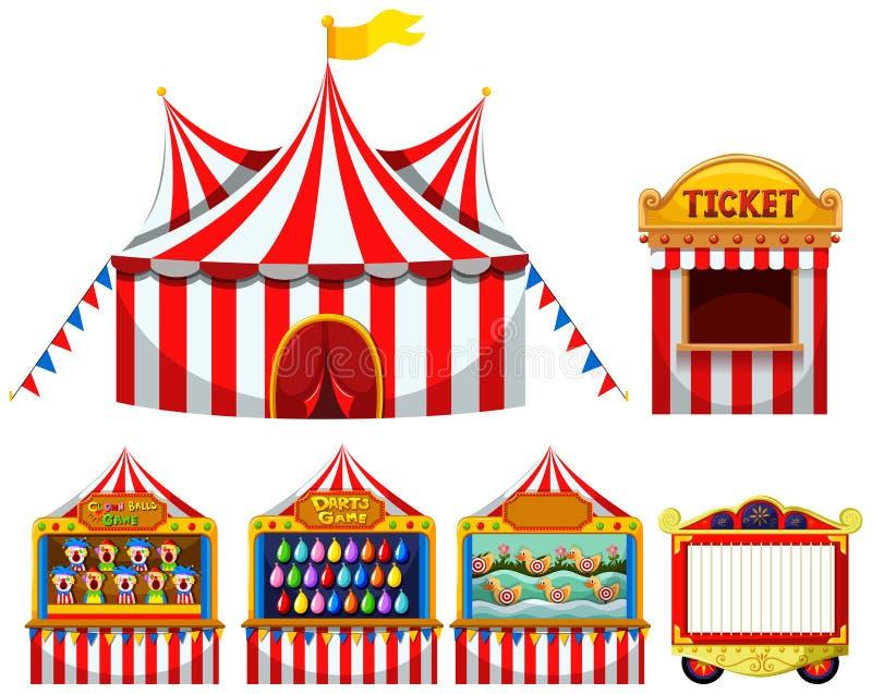 Circustent en spel boothes stock illustratie