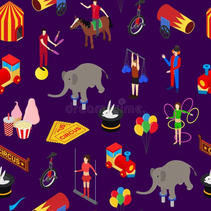 Circusvermaak en van het Aantrekkelijkheids Naadloze Patroon Isometrische Mening Als achtergrond Vector royalty-vrije illustratie