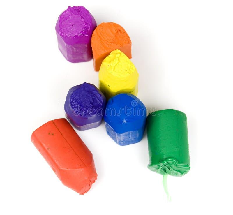 cire utilisée des crayons sept photos libres de droits