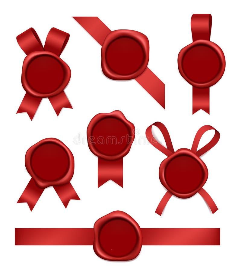 Cirez le timbre et les rubans Les timbres postaux en caoutchouc rouges scellés avec des bandes dirigent les images 3d réalistes illustration de vecteur