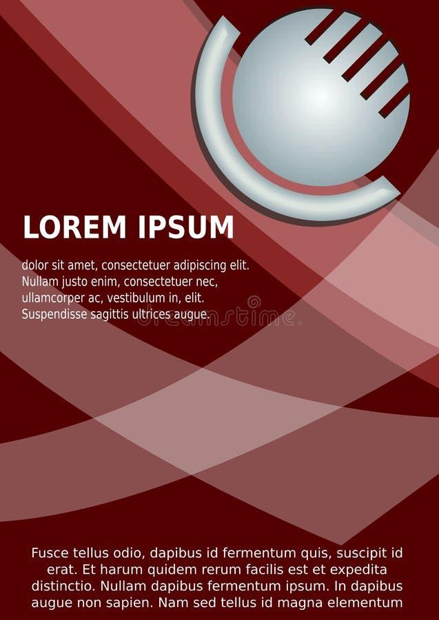 Cirkel abstracte zilveren 3d logotype en transparante witte abstracte elementen op donkerrode achtergrond Aanplakbiljet, vlieger stock illustratie