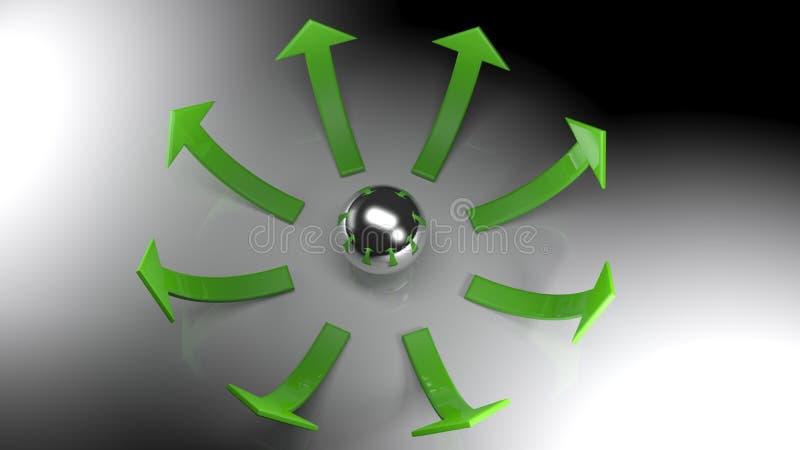 Cirkel av gröna pilar som växer upp med sfären i deras mitt - bästa sikt stock illustrationer