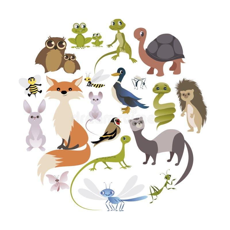 Cirkel av gulliga djur Däggdjur amfibier, reptilar, kryp a stock illustrationer