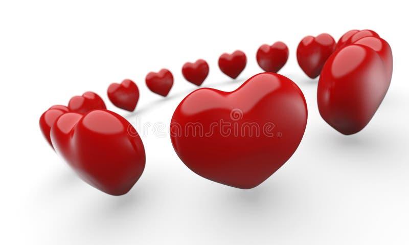 Cirkel av röda förälskelsehjärtor vektor illustrationer