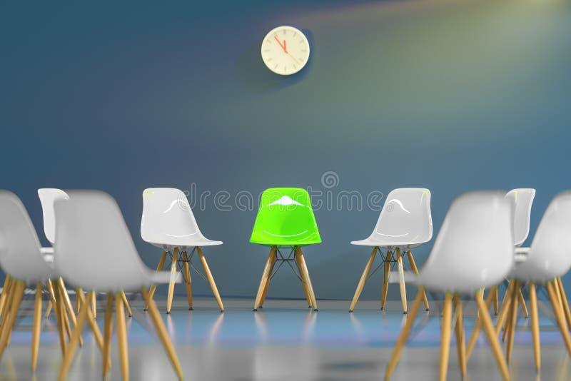 Cirkel av stolar för modern design med en udda en ut Jobb tidning och kaffe Affärsledarskap Rekryteringbegrepp vektor illustrationer
