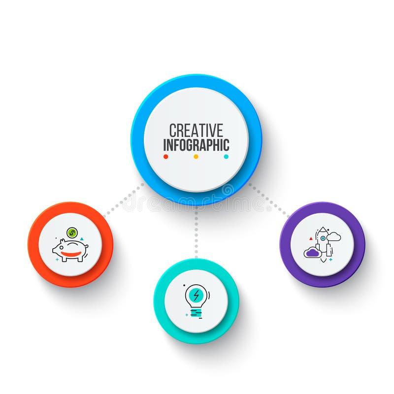 Cirkel bedrijfs grafische elementen Bedrijfsprocesinfographics met 3 stappen, delen of opties Abstracte presentatie stock foto