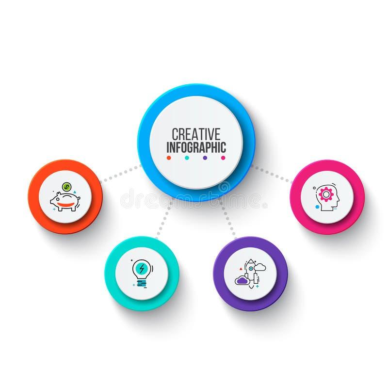 Cirkel bedrijfs grafische elementen Bedrijfsprocesinfographics met 4 stappen, delen of opties Abstracte presentatie stock foto's