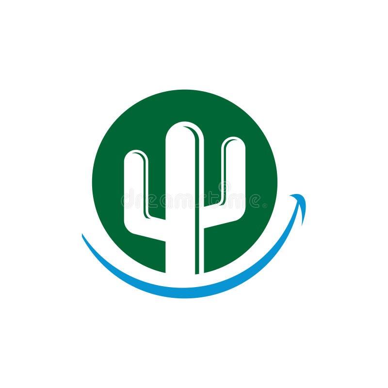 Cirkel die het Groene Symbool van de Cactus Tandzorg glimlachen vector illustratie