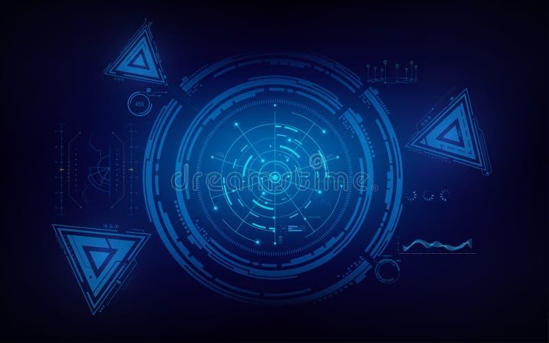 Cirkel en achtergrond van het het conceptenmalplaatje van de driehoeks de infographic technologie royalty-vrije illustratie