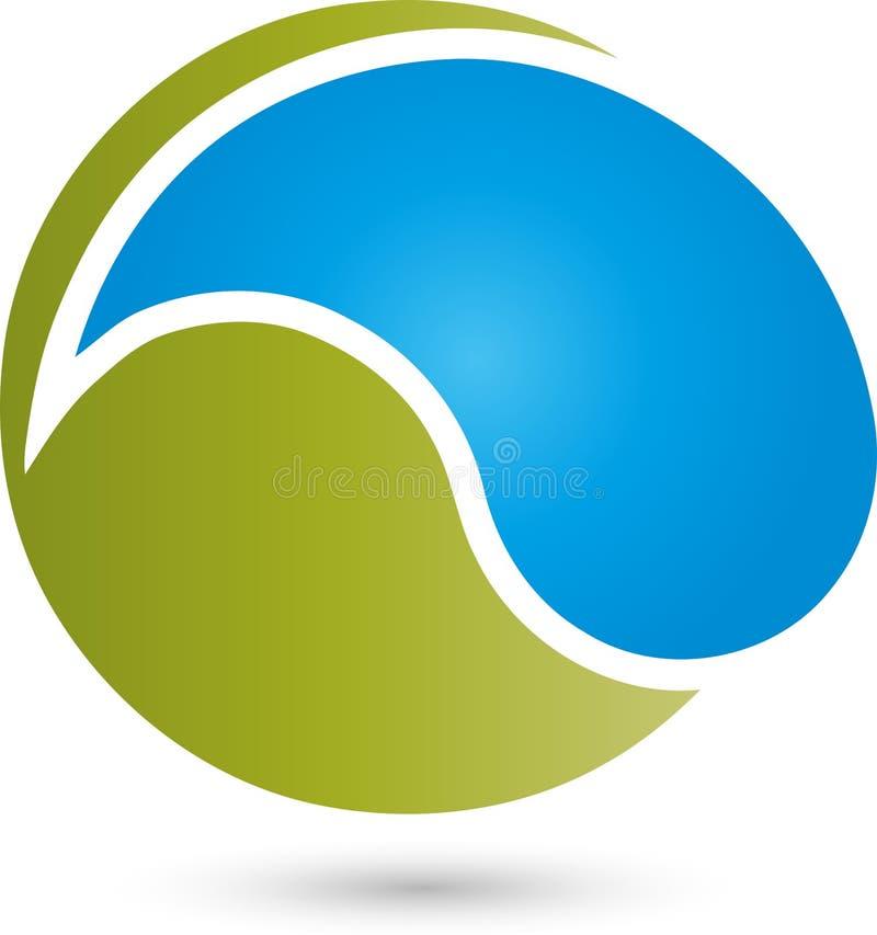 Cirkel en waterdalingen, wellness en waterembleem vector illustratie