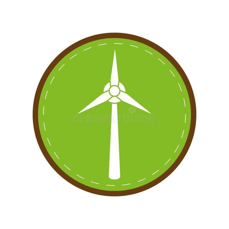 Cirkel för gräsplan för generator för elektricitet för ekologivindturbin stock illustrationer