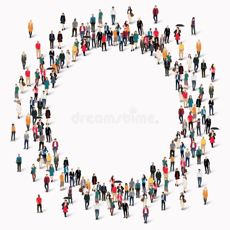 Cirkel för gruppfolkform stock illustrationer